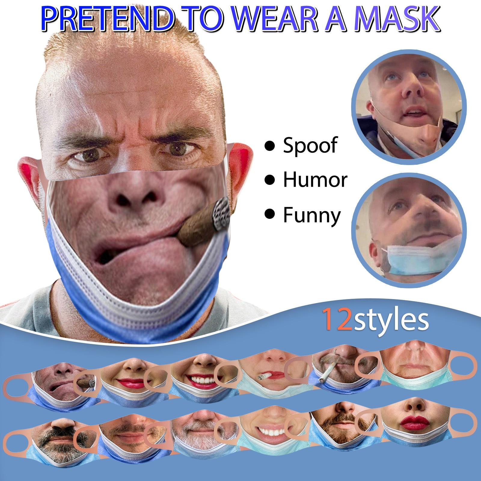 Маска для лица для взрослых, многоразовая, моющаяся, с принтом