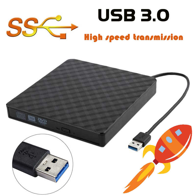 USB 3.0 External DVD Burner Writer Recorder DVD RW Optical Drive CD/DVD ROM Player MAC OS Finestre XP/7/8/10 ABS di Plastica Materiale