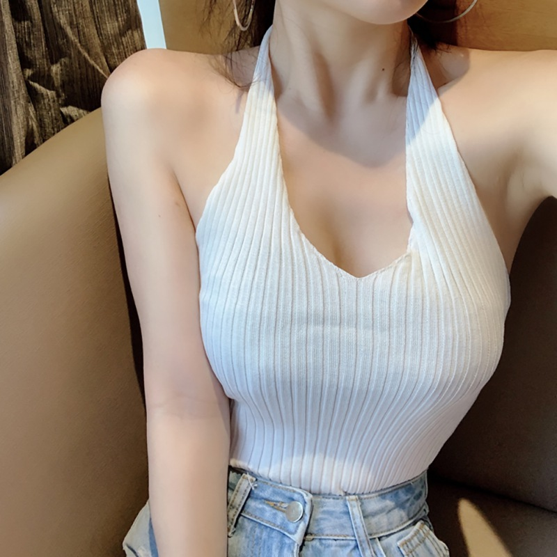 Women Small Sling Retro Halter Stretch Slim V-Neck Sexy Lace Up Solid Color Tanks & Camis Vest One Size New Arrival 1