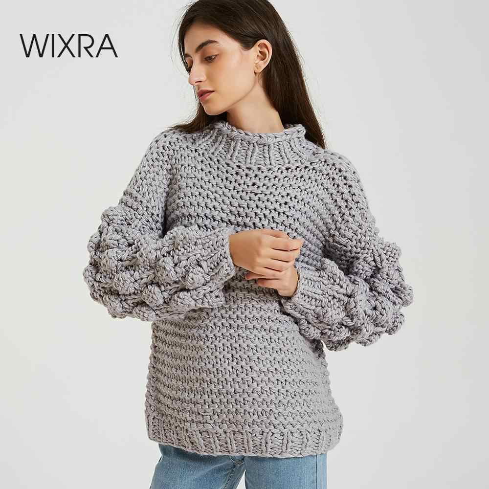 Wixra Casual Loose Autumn Winter Turtleneck Sweaters Women Solid Knitted Sweater Warm Long Sleeve Pullovers