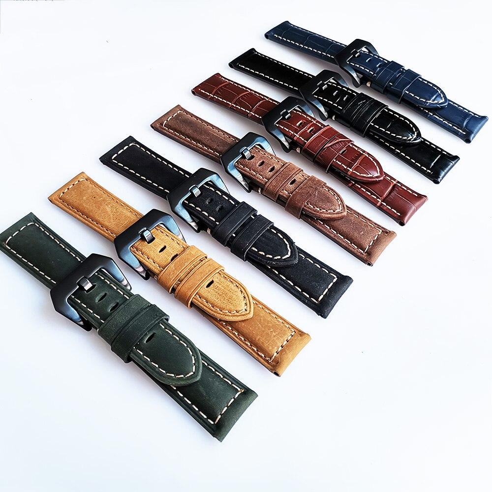 Ремешок Crazy Horse из натуральной кожи 20 мм, 22 мм, 24 мм, 26 мм, Ретро стиль, матовый ремешок для мужчин, сменный мужской т браслет, ремень, аксессуары|Ремешки для часов|   | АлиЭкспресс