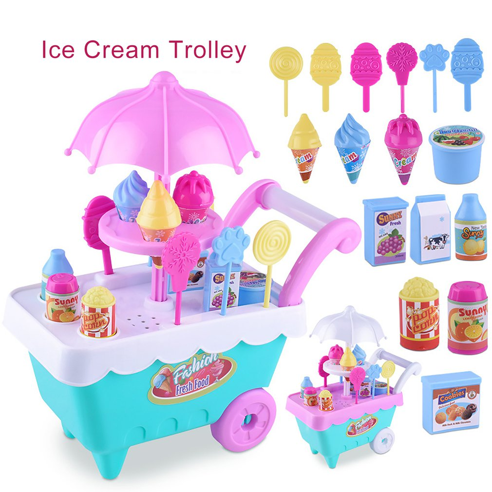 Early Learning Enlightenment Experience Shopping Le Chao Children's Simulation Candy Ice Cream Cart Girl Puzzle House Set Toys