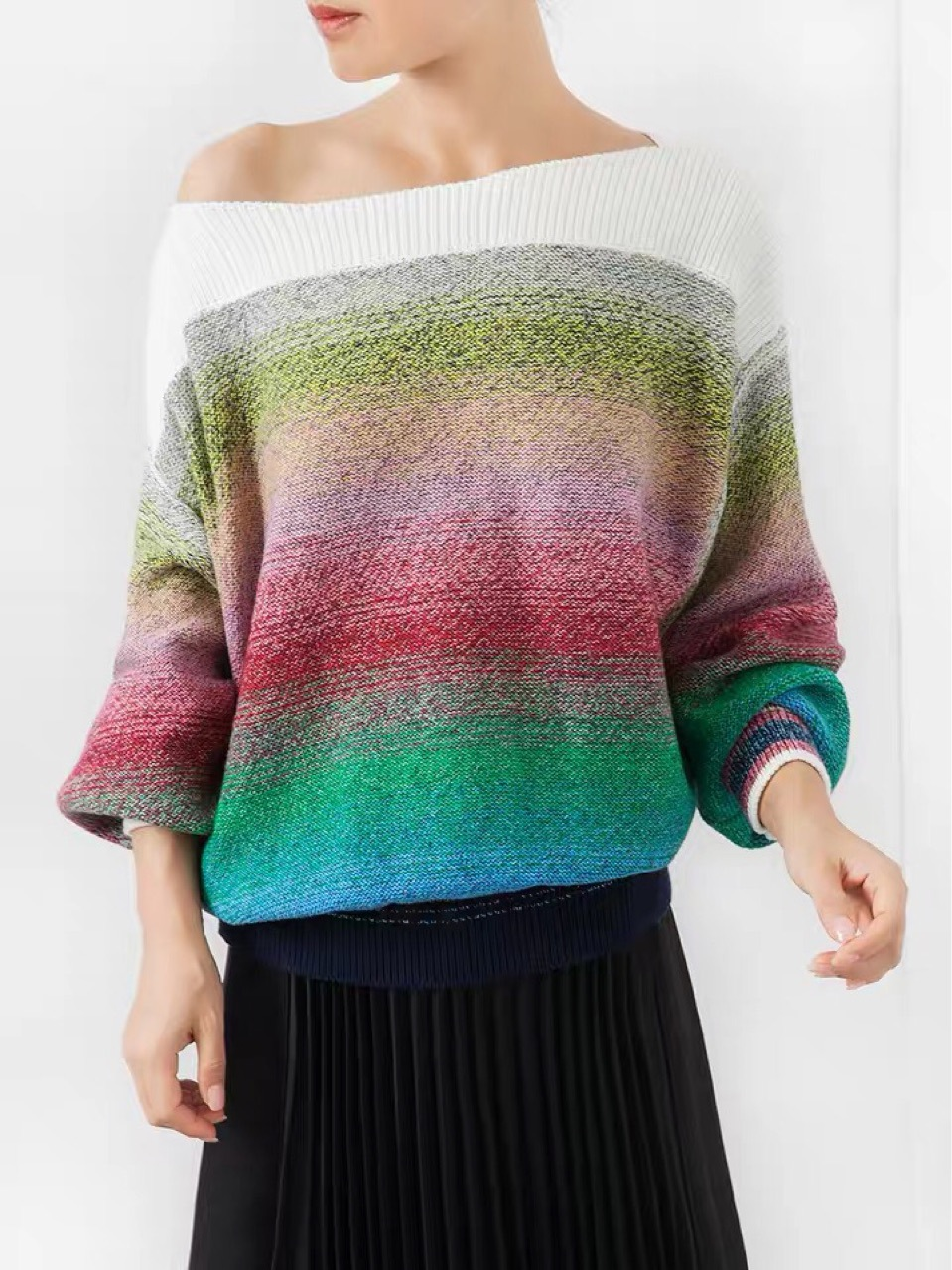 女性の勾配のセーター初秋コレクションの花のランタンスリーブルーズセーター  グループ上の レディース衣服 からの プルオーバー の中 1