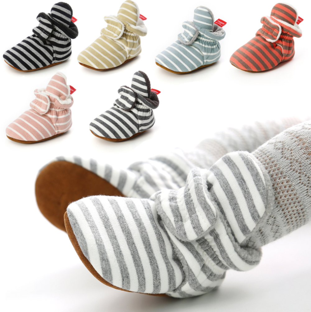 Baby Boy Girl Booties Stripe Gingham Newborn Toddler First Walkers Cotton Comfort Soft Anti-slip Infant Crib Shoes Socks Shoes