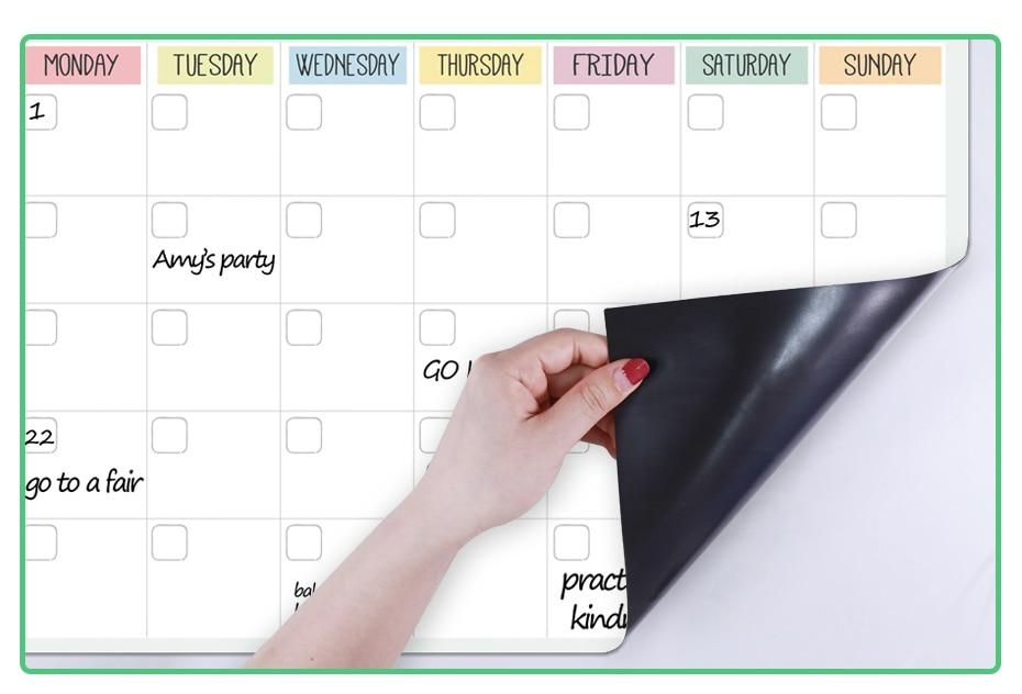 Organizador magnético planejador apagável diário semanal mensal
