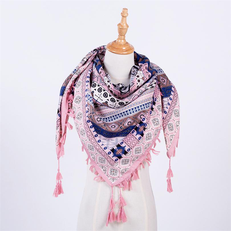 Fashion Scarf Women Autumn Winter Large Shawls Floral Print Stoles Triangle Bandana Luxury Brand Kerchief Scarves Female Foulard