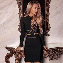 Adyce فستان أسود جديد موضة شتاء 2020 ، فستان سيدات مثير بأكمام طويلة ، فستان نادي صغير ، فستان أنيق للمشاهير والحفلات المسائية