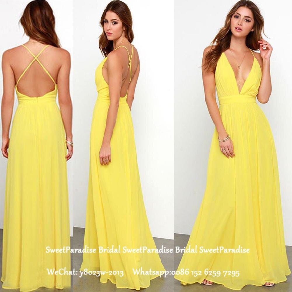 Sexy Backless Yellow Chiffon Bridesmaid Dresses A Line Long Spaghetti Strap Vestido De Festa Prom Dress Wedding Guest For Women