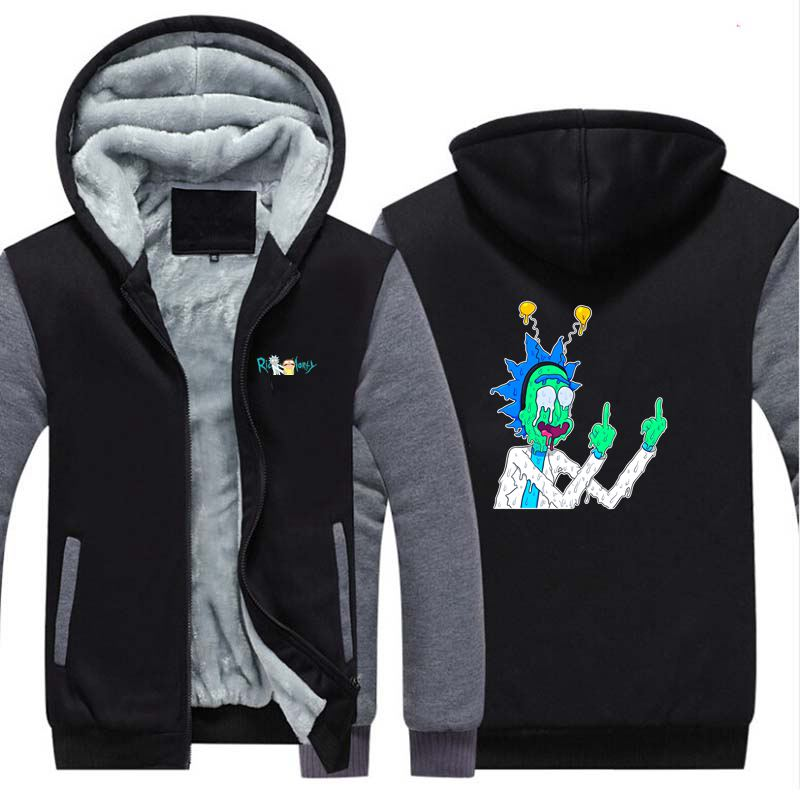 New Rick And Morty Thicken Hoodie Sweatshirts Cosplay Costume Anime Winter Warm Coat Hooded Men Clothing