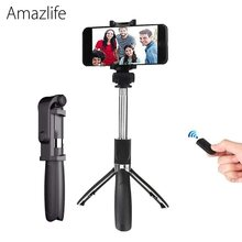 Amazlife L01s Retractable Handheld Tripod Selfie Stick Monopod with Bluetooth Remote Button for iOS Android Phone(China)