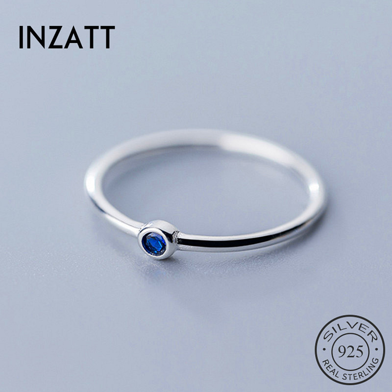 INZATT Real 925 Sterling Silver Blue Crystal Round Ring For Fashion Women Cute Fine Jewelry Minimalist  Accessories 2019 Gift