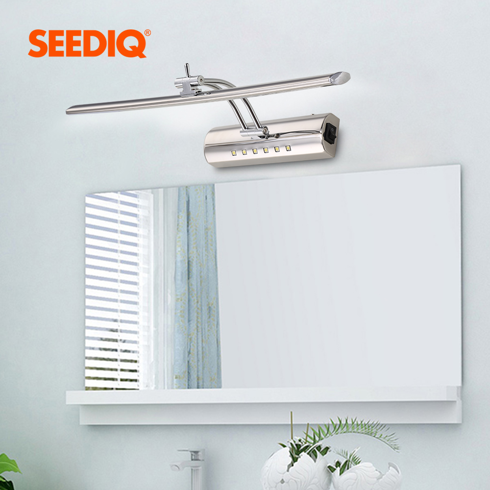 Modern Bathroom Mirror Light 220v 110V 7W 40cm 9W 55cm Waterproof Stainless Steel Led Wall Lamp With Switch Sconce Wall Light 2