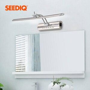 Image 2 - Luz moderna do espelho do banheiro 220v 110v 7w 40cm 9 55cm à prova dwaterproof água de aço inoxidável conduziu a lâmpada de parede com interruptor arandela luz de parede
