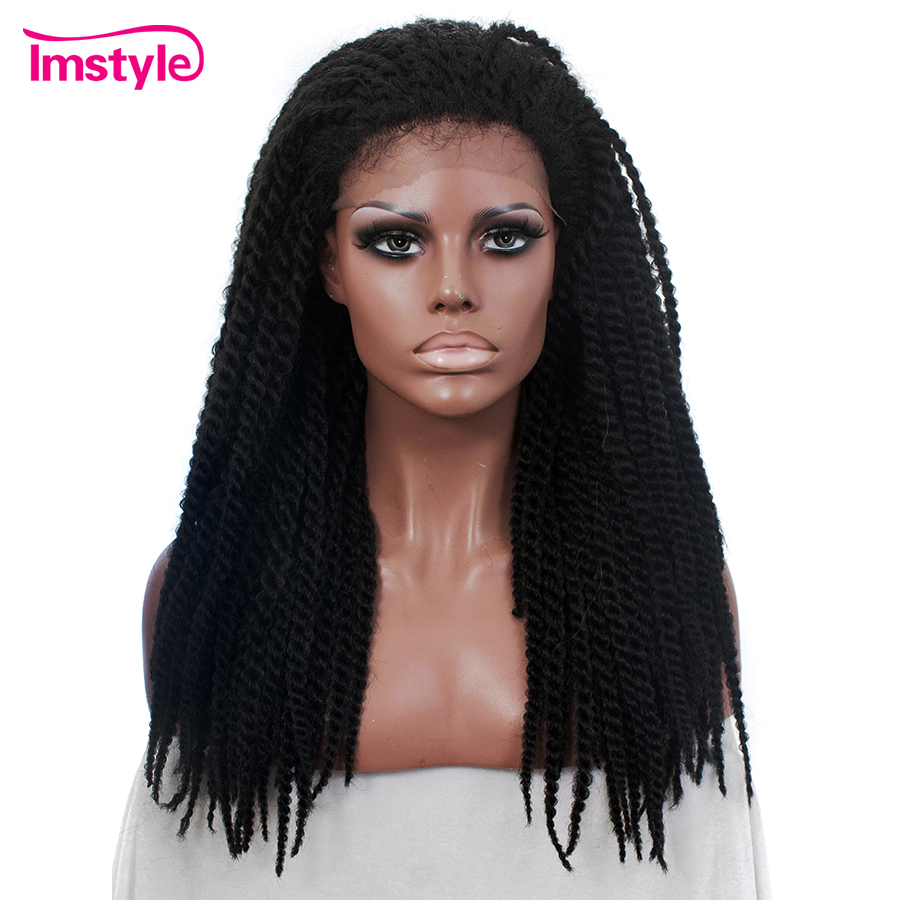 Imstyle Braided Wigs Black Synthetic Lace Front Wigs For Women 22 Inch African Heat Resistant Fiber