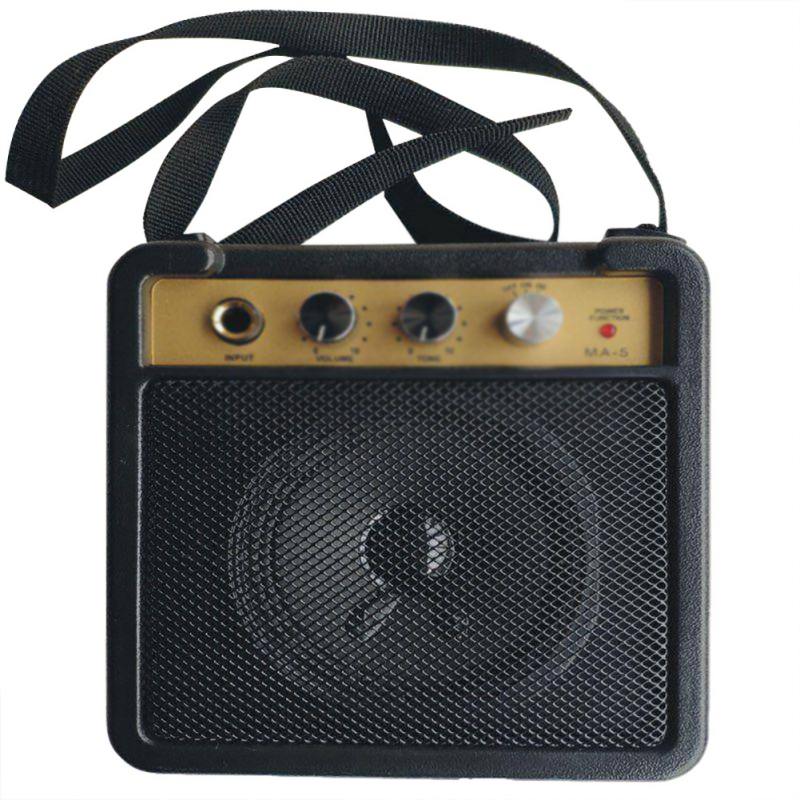 Black Electric Amplifier For Guitar Amp Speaker 5W With 6.35mm Input Headphone Adjustment Output Supports Volume Tone