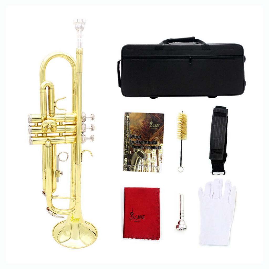 Trompette Bb en laiton professionnel avec sac de rangement embout brosse de nettoyage gants en tissu sangle Instruments en laiton