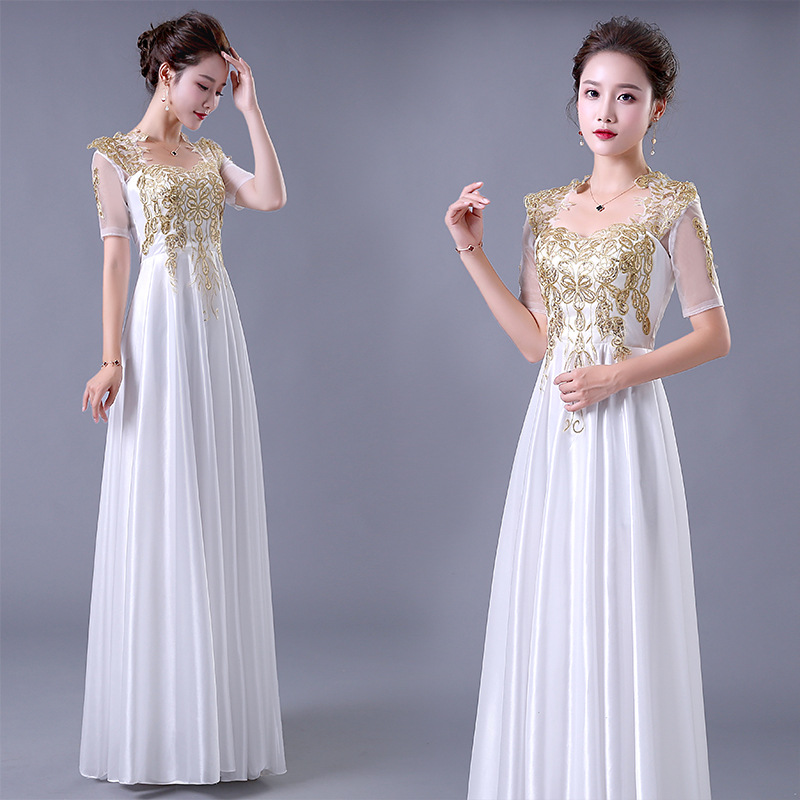 Chorus Long Skirts Costume Women's 2019 Summer New Style Long Banquet Elegant Slimming Evening Gown