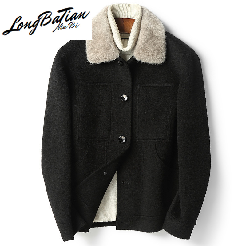 jacket men Winter clothing real wool coat male casual clothes double-sided 100% mink fur collar chaqueta hombre LXR520