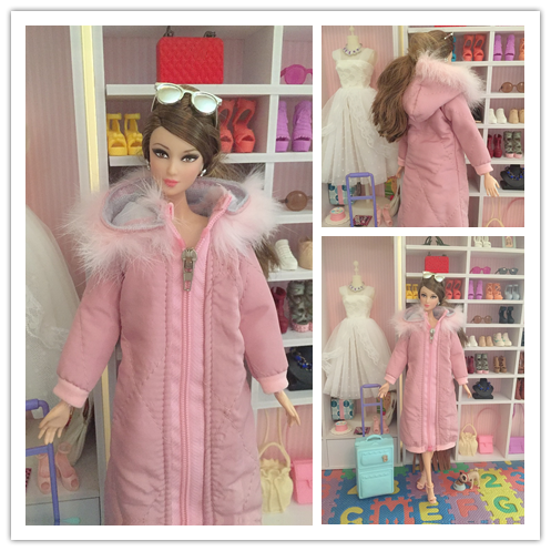 1/6 Doll Winter Cotton Coat Blyth Long Dress Winter Wear Skirt 1/6 BJD Doll Jacket Licca Accessories Clothes For Barbie Doll