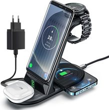 ワイヤレス充電器,Samsung Galaxy Watch 3/gear/buds/note 20/s21 for iPhone 12/11 pro max/airpods,4 in 1,高速充電ステーション