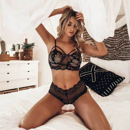 2PCS Exotic Sets Sexy Lingerie Lace Hollow out See Through Women Exotic Sets Lace Sexy Underwear