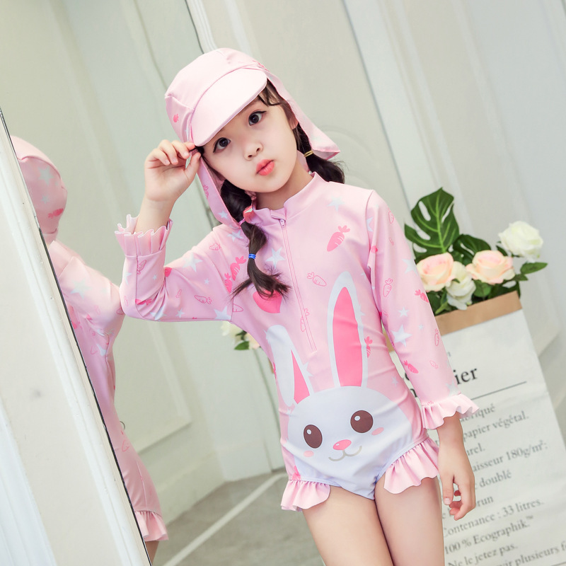CHILDREN'S Swimwear GIRL'S Girls One-piece Hooded Long Sleeve Cute Baby 1-3 Years Old Princess Quick-Dry Infant Sun-resistant