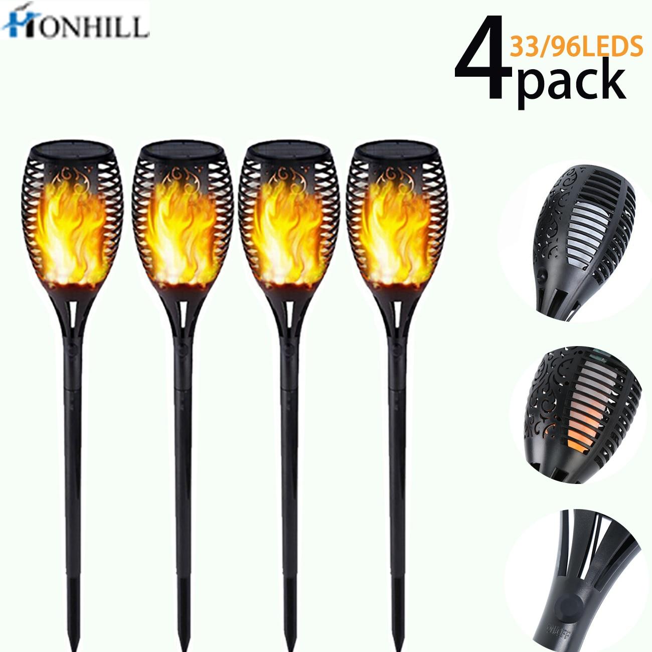 Honhill 33/96 LED Solar Flame Lamp Flickering Outdoor IP65 Waterproof Landscape Yard Garden Light Path Lighting Torch Light 4pcs