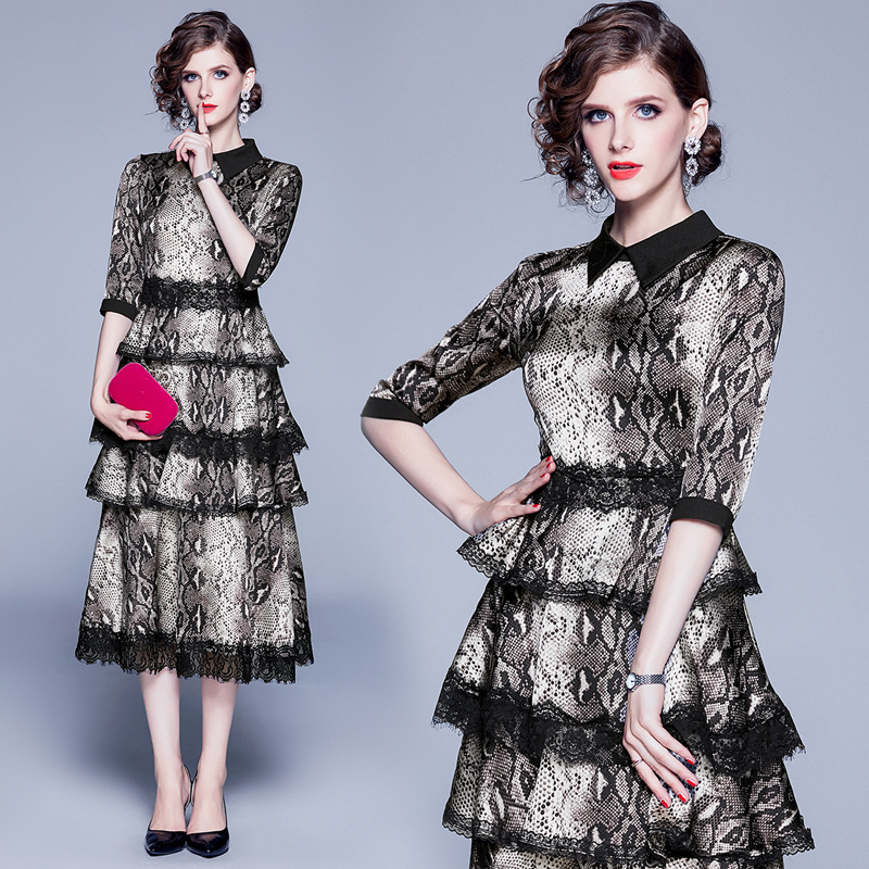 Banulin Autumn Runway Women Black Lace Patchwork Cake Layered Dress Vintage Leopard Print Party Dresses Vestido De Festa