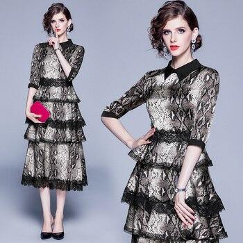 Banulin Autumn Runway Women Black Lace Patchwork Cake Layered Dress Vintage Leopard Print Party Dresses Vestido De Festa