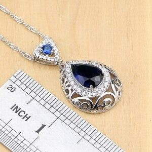 Image 3 - Hyperbole Blue Stone White CZ 925 Silver Jewelry Sets For Women Party Drop Earrings Pendant Rings Bracelet Necklace Set