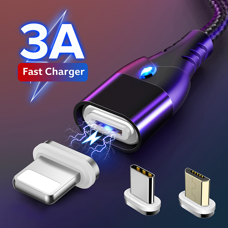 GETIHU 2m 3A Magnetic Phone Cable Quick Charge 3.0 Micro USB Type C Charger Magnet Fast Charging Data Cord For iPhone 11 XS Max(China)