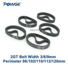 POWGE 10 шт. 2GT ремень синхронизации Длина шага 98 102 110 112 120 ширина 3/6/9 мм зубы 49 51 55 56 60 замкнутому циклу GT2 ремень