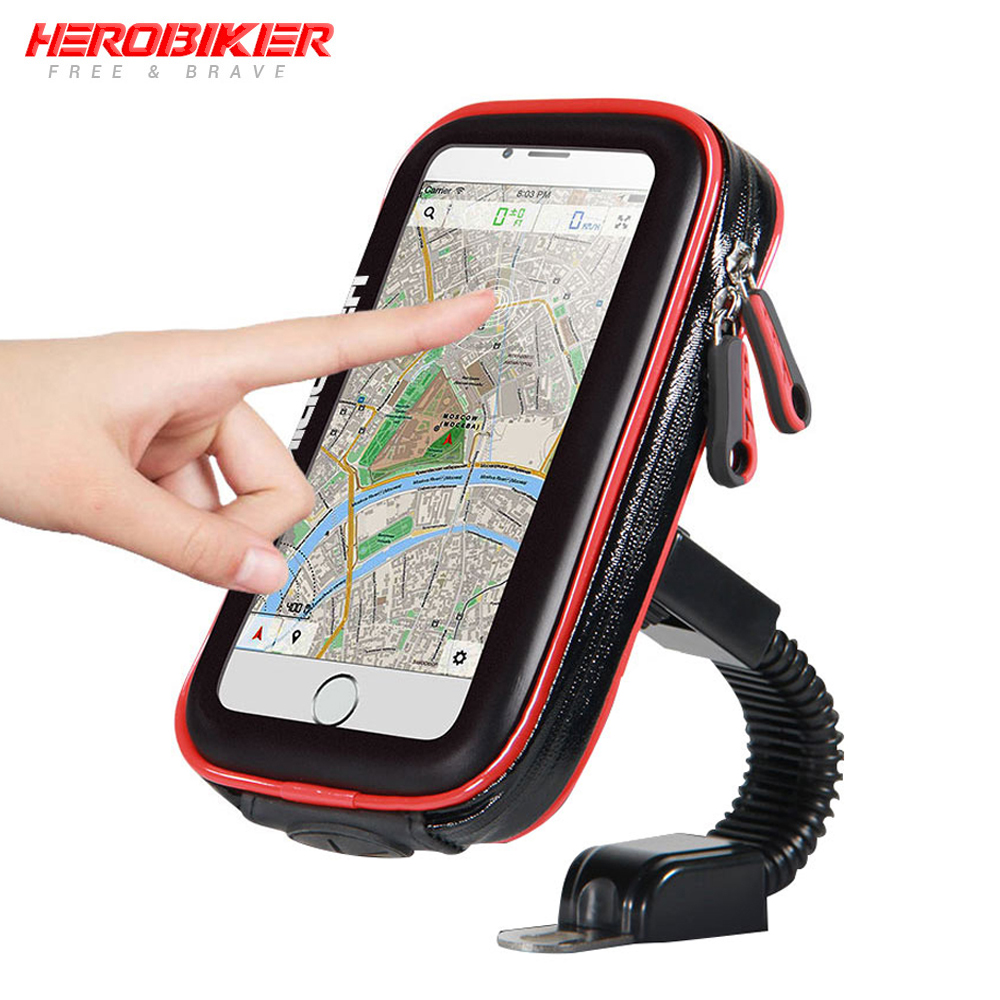 HEROBIKER Mobile Phone Holder Motorcycle Bike Mount Bracket Stand Holder For Phone Waterproof Case Bag For Iphone 6/7 Samsung image