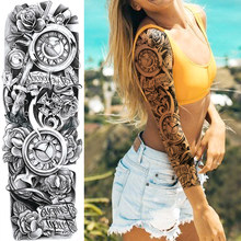 3D Black Bell Clock Temporary Tattoos For Men Women Body Art Full Arm Sleeve Tatoo Summer Waterproof Fake Flower Tattoo Stickers(China)