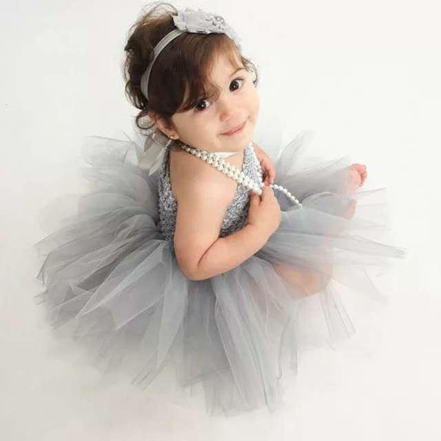 Lovely Baby Flower Tutu Dress Infant Girls Crochet 1Layer Tulle Ballet Dress Corset Dance Tutu With Headband Newborn Party Dress