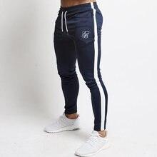 2021 primavera outono sik marca de seda impressa calças esportivas finas dos homens casual estiramento ginásios fitness jogging magro calças apertadas