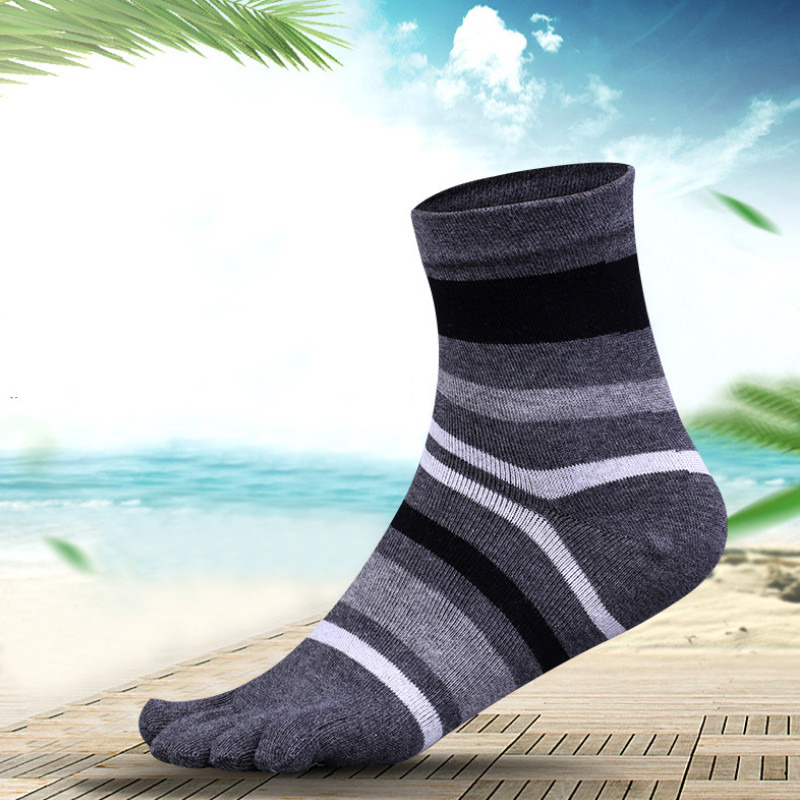 Autumn Winter Five Finger Man Happy Socks Cotton With Stripes Compression Breathable Toe Socks Gifts For Male 5colors  F83