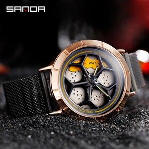 Image 2 - 2020 Hot Sell Fashion Cool Men Watch SportsCar Rotating Dial Wheel Wristwatch Waterproof Magnet Buckle Quartz Movement Gift 1022
