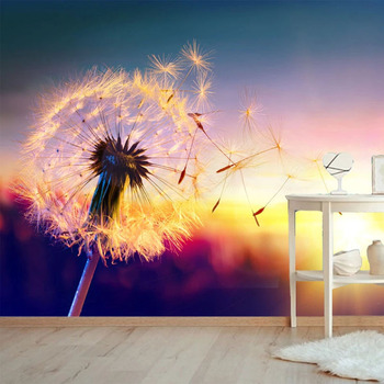 Modern 3D Wallpaper Romantic Beautiful Sunset Dandelion Flower Landscape Photo Wall Mural Living Room TV Sofa Bedroom Home Decor