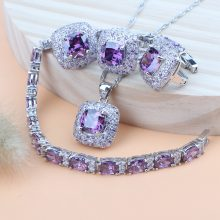 Silver 925 Women Jewelry Sets Purple Cubic Zirconia Costume Jewelry Wedding Bridal Pendant Rings Earrings Bracelet Necklace Set(Hong Kong,China)