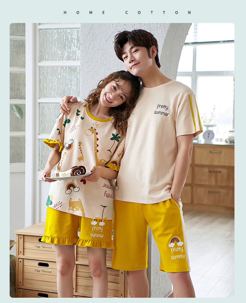 Summer Cotton Couple Pajamas | Matching Night Suit | 16 models