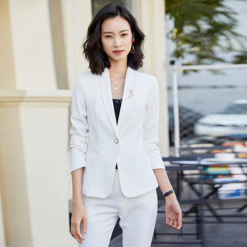 Yellow Female Office Work Formal Pant Suit Women's Business Lady OL Uniform 2 Piece Set Blazer Trouser Jacket Suits Plus Size 5x