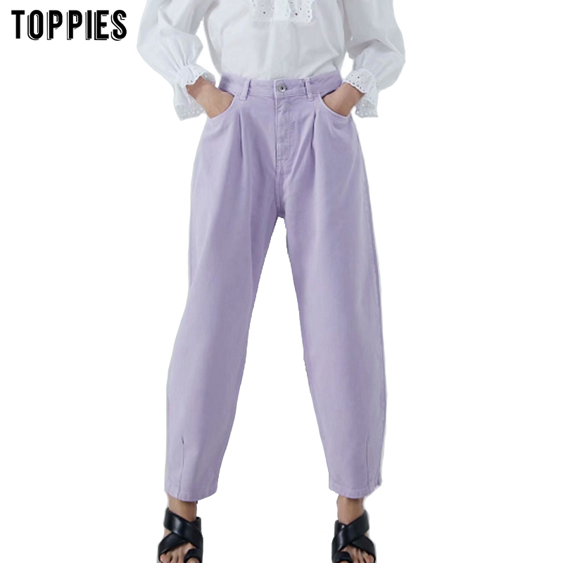 Toppies women pants vintage denim pants casual streetwear 2020 fashion violet mom jeans