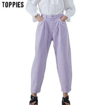 Toppies Women Pants Vintage Denim Pants Casual Streetwear 2020 Fashion Violet Mom Jeans