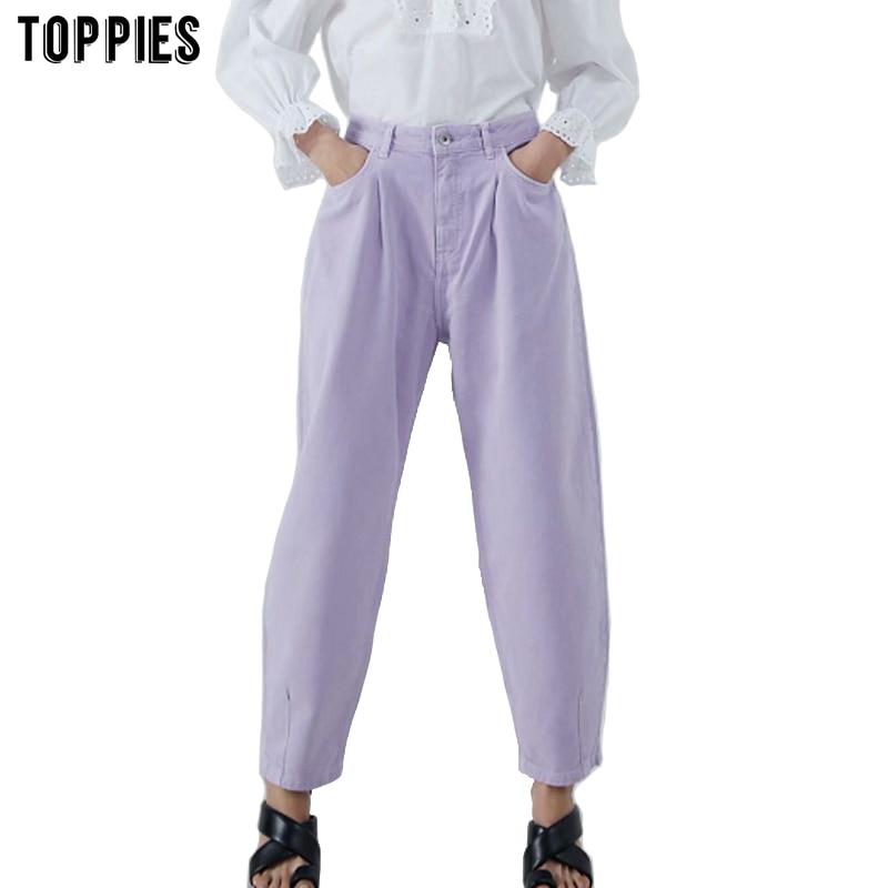 Toppies женские брюки винтажные джинсовые брюки Повседневная Уличная мода 2020 фиолетовые джинсы для мамы|Брюки |   | АлиЭкспресс