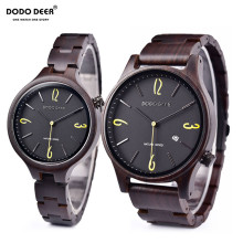 DODO DEER Men's And Women's Wood Watches Fashion Brand Calendar Unique Couple