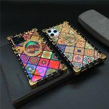 Роскошный Блестящий Ретро чехол для телефона с цветами квадратный чехол для huawei P40 PRO Mate 40 30 20 P30 Lite P20 Pro Honor V30 30S 8X Y6 Y7 Y9
