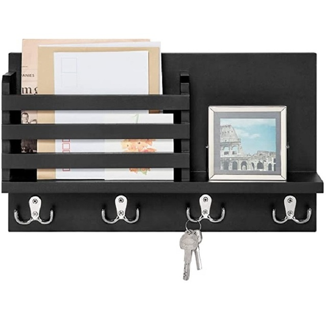 Wall Mounted Mail Holder Coat Rack Hanger Key Hanger Wooden Mail Sorter Organizer with 4 Double Key Hooks Wall Shelf Wood 2