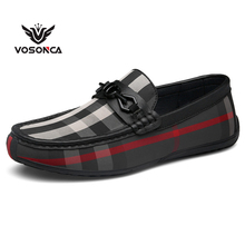 Vosonca 2019 New Men Casual Shoes Loafers Quality Split Leather Flats Hot Sale Moccasins