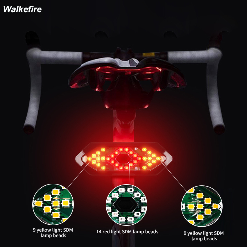 Remote Control Rear Alarm Bicycle Light USB Smart Taillight MTB Road Cycling Turning Signal Warning Lamp
